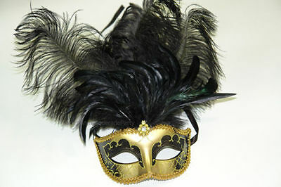 Venetian Masquerade Ball Black Silver Gold Ostrich long Feather party Eye Mask