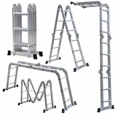 ALEKO Folding Ladder Multi-Purpose Multiple Position 12 Steps Aluminum