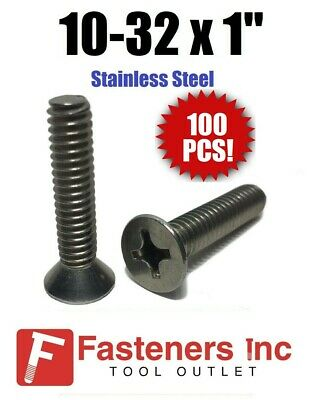 "(Qty 100) 10-32 x 1"" Phillips Flat Head Machine Screws Stainless Steel"