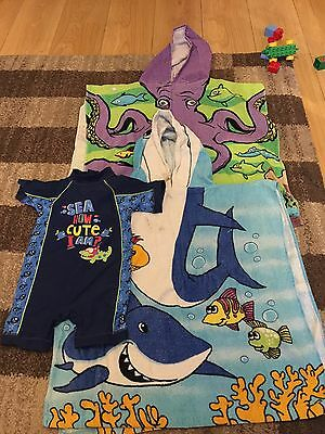 Boys Swimsuit 12-18 Months And 2 Beach Towels