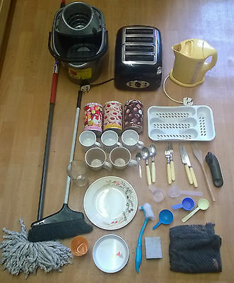 job lot used kitchen appliences kettle toaster cups mugs utensils cutlery bundle