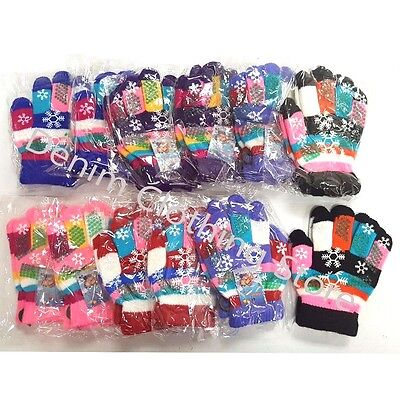 12pairs Kid Children's Girl Snowflake Finger Winter Gloves Colorful Knitted Lot
