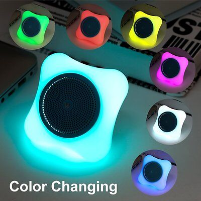 Mini Bluetooth Portable Speaker with Color Changing LED Lights Support Micro SD