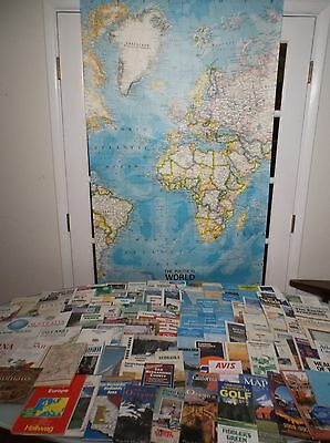 LOT of 122 Mostly Vintage Maps 1950's, 60's, 70's, 80's, 90's - Includes 6' Map