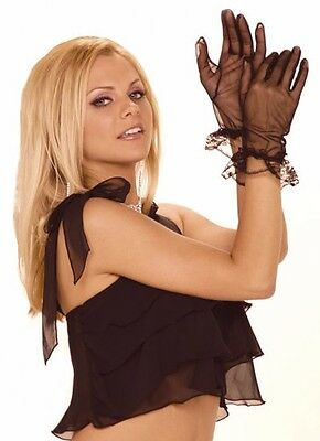 Sheer Mesh Gloves with Ruffle Trim Womens Lingerie One Size fits: S M L XL Black