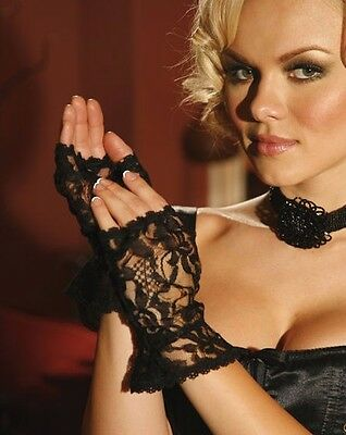 Lace Fingerless Gloves with Ruffle Trim Lingerie One Size fits: S M L XL Black
