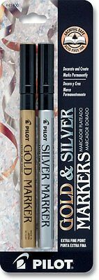 Pilot Gold and Silver Metallic Permanent Paint Markers, Extra Fine Point, Set of
