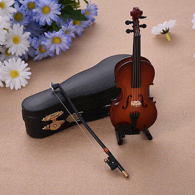 Mini Violin Miniature Wooden Musical Instruments Model Decor + Support + Case
