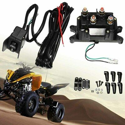 New 12V ATV UTV Solenoid Relay Contactor+Winch Rocker Thumb Switch Wiring Combo