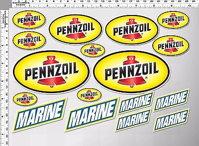 1set pennzoil marine bell oil auto lube racing decal sticker die-cut vinyl motor