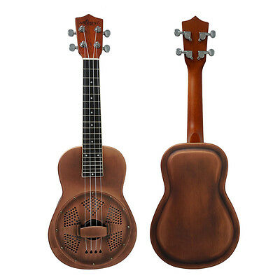 Red Copper brass body 24 Inch concert resonator resophonic ukulele with case