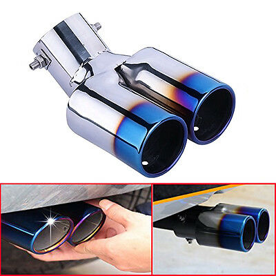 New Universal Chrome Stainless Steel Car Rear Dual Exhaust Pipe Tail Tip Muffler