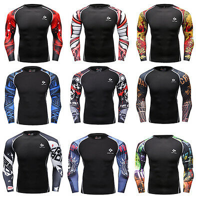 Men's Compression Base Layer Top Long Sleeve Tights Fitness Sports T-shirts WS02