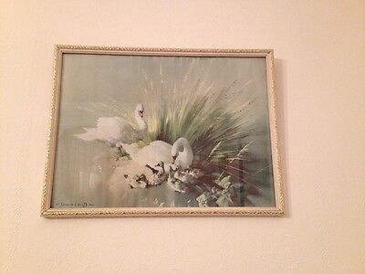 """Vintage Retro Kitsch VERNON WARD """"Enchanted Isle"""" Framed Print Picture Swans"""