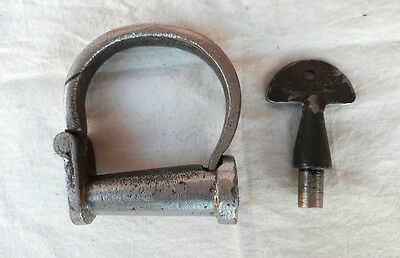 Old Vintage Antique Strong Rare Handcrafted Heavy Iron Nickel Handcuff Lock, Key