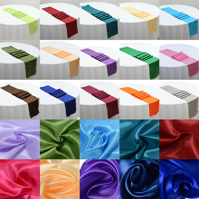 """5 or 10 Pcs Satin Table Runners Wedding Decoration - 12"""" x 108"""" - 21 Colors"""