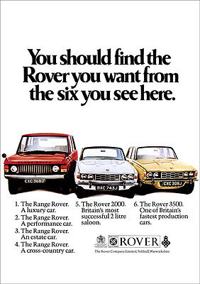 Range Rover & Rover P6 3500 And 2000 Retro A3 Poster Print From Classic Advert