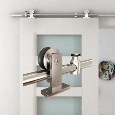 6.6 FT Modern Stainless Steel Sliding Barn Wood Door Closet Hardware Track Set #