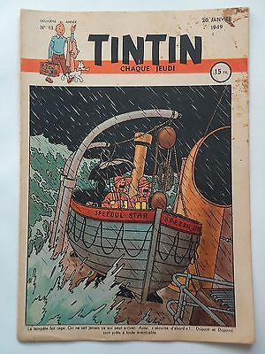 JOURNAL TINTIN n° 13  COUVERTURE DE HERGE  20/01/1949