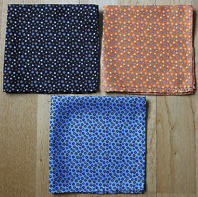Macclesfield Silk Ditsy Floral Pocket Square Handkerchiefs. New Hand Made