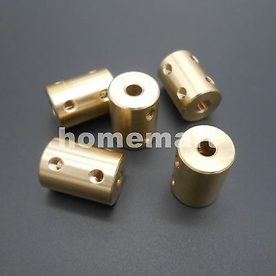 5PCS Brass Copper Shaft Motor Rigid Coupling Coupler 5MM TO 5MM 5-5 + 2 Wrenches