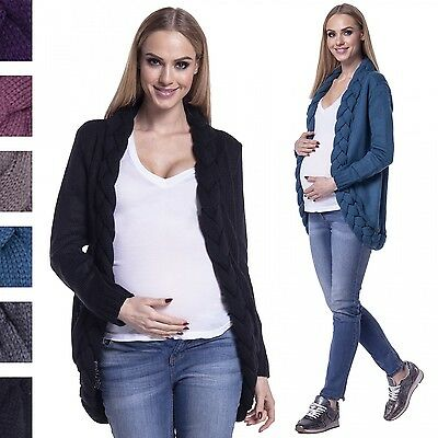 Happy Mama. Women's Maternity Knit Cocoon Cardigan Braid Front Pregnancy. 490p