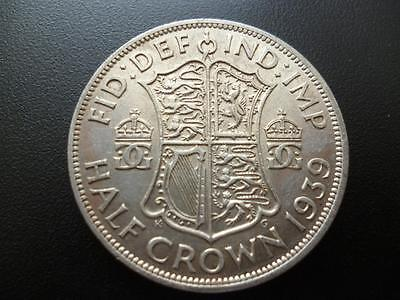 1939 George The 6Th Half Crown Extremely Fine Condition. 1939 Halfcrown Coin.