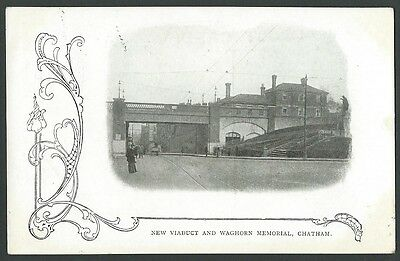 Chatham Kent Medway New Viaduct & Waghorn Memorial 1905 Printed Postcard