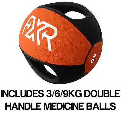 Fxr Sports Rubber Professional Double Handle Orange Medicine Ball 3/6/9Kg Set