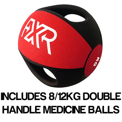 Fxr Sports Rubber Professional Double Handle Red Medicine Ball 8/12Kg Set
