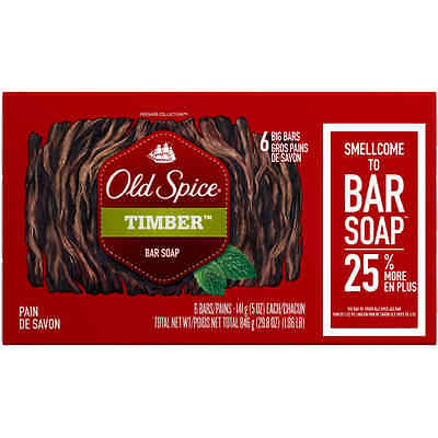 Old Spice Fresher Collection Timber Scent Bar Soap 5 oz 6 count
