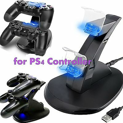 LED Dual Fast Charger Dock USB Charging Stand Station For Sony PS4 Controller MU