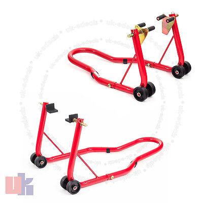 Front And Rear Motorcycle / Bike Paddock Stand / Stands Combo / Red Pair UKED