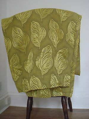 Vintage 1950s damask brocade green gold leaf pattern curtains fabric