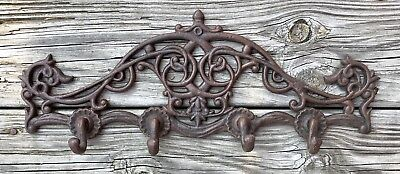Cast Iron Victorian Short 4-Hook Wall-Mount Vintage Coat Rack Holder