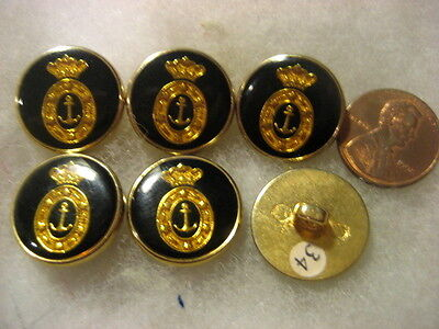 Buttons for Blazer,Jacket HERALDIC,ANCHOR lot of 6