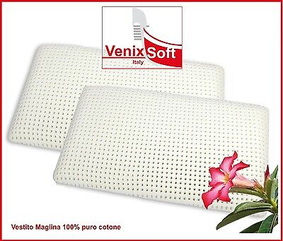 Due(2) Cuscini Guanciali VENIXSOFT lattice, H 14cm federa 100%cotone sfoderabile