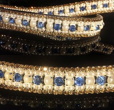 Bling Crystal Stone & Pearl Luxury ICE Dressage Browband. SALE BARGAIN