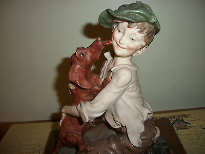 G. Armani Figurine A Boy And His Dog Signed Made In Italy