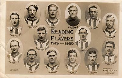 Reading Football Club F C Players 1919-20 RP old pc used 1919 P O Collier