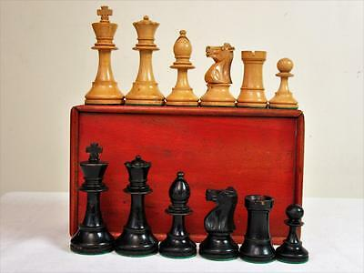 """ANTIQUE EARLY-20th C. WEIGHTED CHESS SET STAUNTON PATTERN K 3.5""""+ BOX - NO BOARD"""