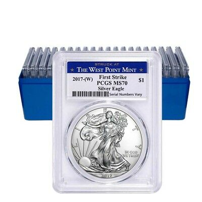 Lot of 20 - 2017-W 1 oz Silver American Eagle $1 Coin PCGS MS 70 First Strike (W