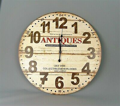 Clock Extra Large Cream Black, with Red Antiques Vintage Style Wall Clock