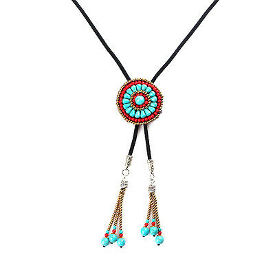 Bohemia Beads Tribe Bolo Ties Rodeo Dance Necktie Costume Necklace