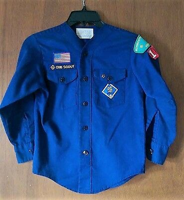 Official Cub Scout Uniform Shirt Long Sleeve Blue MED - patches pin - no collar