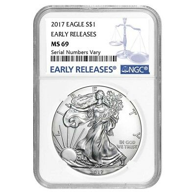 PRESALE - 2017 1 oz Silver American Eagle $1 Coin NGC MS 69 Early Releases