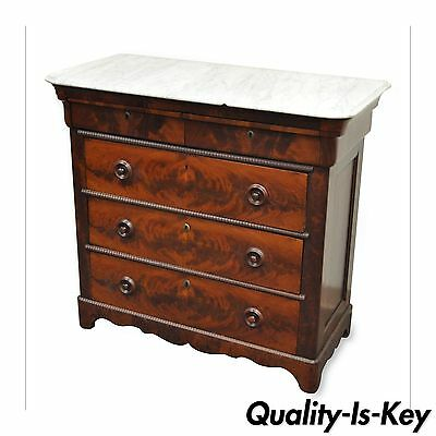 Antique American Empire Flamed Mahogany Marble Top Chest of 5 Drawers Dresser