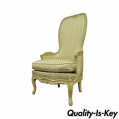 Vintage Hollywood Regency French Louis XV Cream Green High Back Lounge Arm Chair