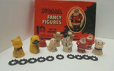 Noma Fancy Figures 10 Snap On Ornaments Vintage Xmas Lighting Outfit