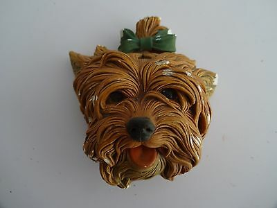 """Vintage Bossons Chalkware Figure Head - """"Yorkshire Terrier"""" 3.5"""" tall"""
